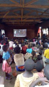 Solar Powered Mobile backpack facilitated film screening.Malawi-Dowa